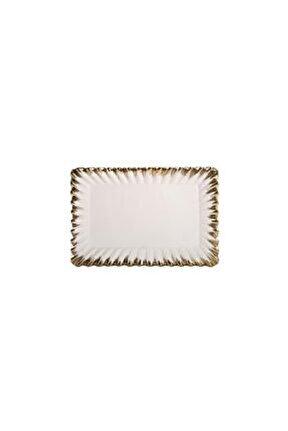 Beyaz Altın Avangarde Dikdörtgen Sunum Tabak 34cm
