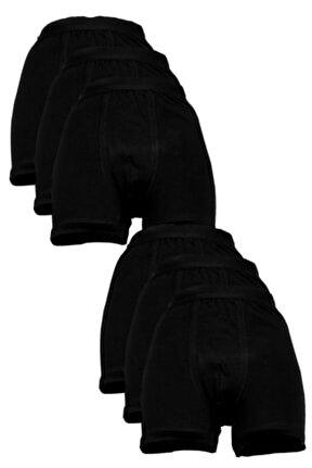 Erkek Siyah Likralı Pamuklu Ribana Uzun Boxer 6'lı