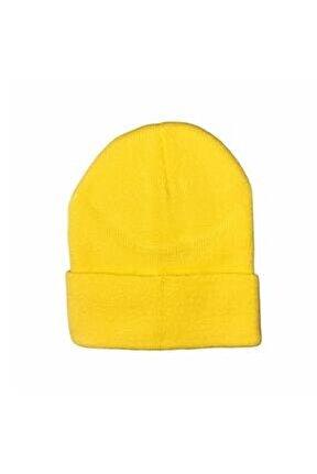 Erkek Katlamalı Bere Şapka Kışlık Sarı