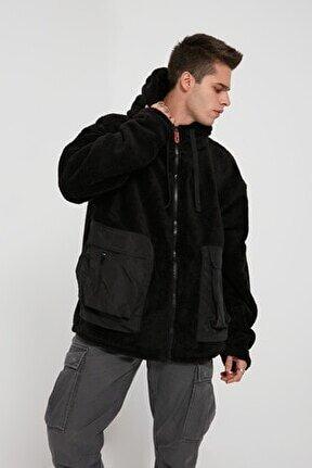 Unisex Siyah Twin Pocket Plush