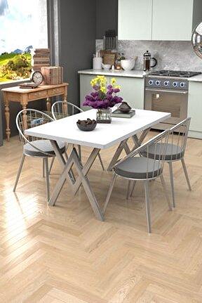 Beyaz Gri Eylül Silver 4 Kişilik Mutfak Masası Takımı