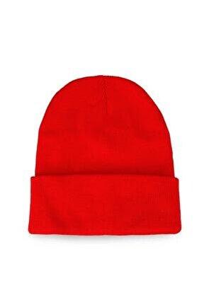 Erkek Katlamalı Bere Şapka Kışlık Kırmızı