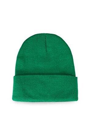 Erkek Katlamalı Bere Şapka Kışlık Yeşil