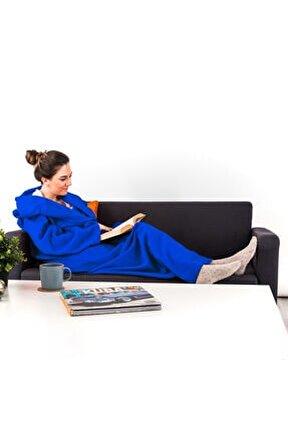 Giyilebilir Battaniye - Giyilebilen Kollu Polar Battaniye - Tek Kişilik Kışlık TV Battaniyesi