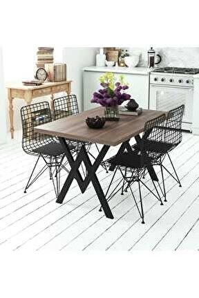 Ceviz Parla 4 Sandalyeli Mutfak Masası