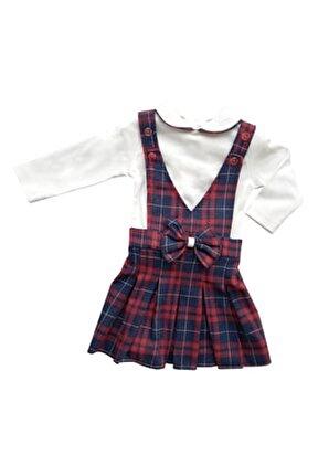 Kız Çocuk Beyaz Kırmızı Lacivert Ekoseli Salopet Elbise
