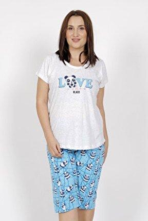 Büyük Beden Örme Kısa Kol Kaprili Pijama Takım