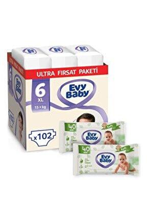 Bebek Bezi 6 Numara Xl 102 Adet Ve 2 Paket Islak Havlu