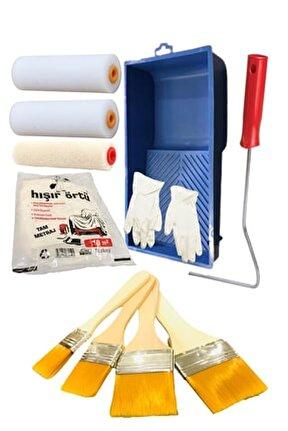 Dev Ekonomik Boyama Seti(4'lü Fırça Seti+sünger Rulo+kadife Rulo+boyama Kabı+boya Örtüsü+eldiven)