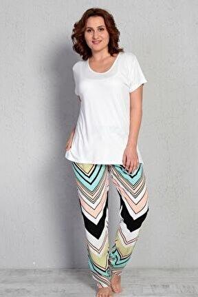Kadın Beyaz Kısa Kol  Viskon Büyük Beden Pijama Takım