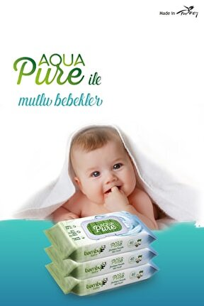 Bambu Baby Aqua Pure Yenidoğan Islak Havlu Kapaklı 3x40 Yaprak 120 Yaprak