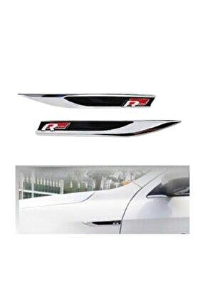 R Lıne Çamurluk Metal Bıçak Logo Golf Jetta Passat Polo 2 Adet