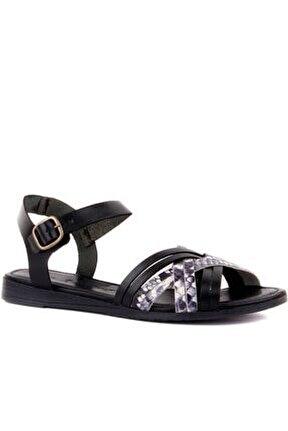 - Siyah Deri Tokalı Kadın Sandalet