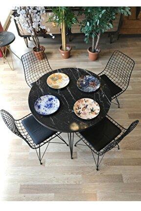 Mutfak Masası Yuvarlak + 4 Sandalye Siyah Mermer Çap 90