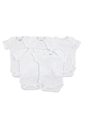 loBaby Bebek Basic Ribana Zarf Yaka 5li Kısa Kol Body - Beyaz