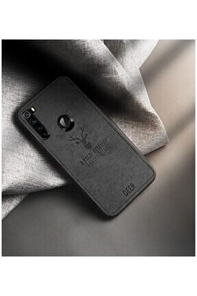 Xiaomi Redmi Note 8 Kılıf Silikon Kenar Kumaş Kılıf Siyah