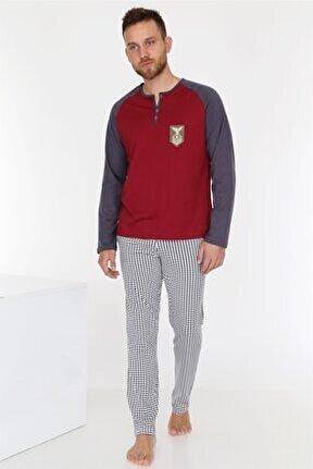 Bordo Erkek Pijama Takımı