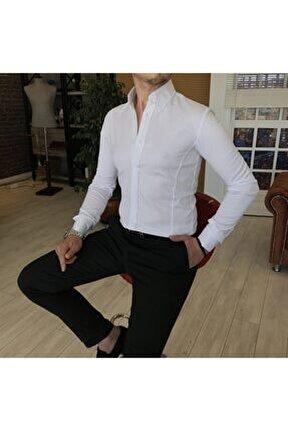Erkek Beyaz Italyan Stil Slim Fit Dik Yaka Saten Gömlek T4754
