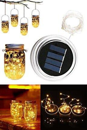 Güneş Enerjili Yenilenebilir Pilli Led Işık Zincirli Mason Kavanoz Kapağı (2 Mt)