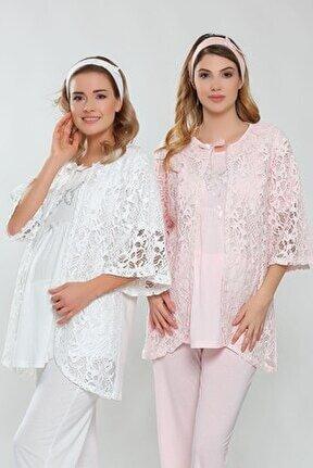 Ekru Lohusa Dantel Detaylı Pijama Takımı
