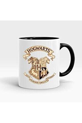 Harry Potter Hogwarts Baskılı İçi ve Kulpu Siyah Renkli Kupa