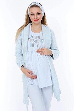 Mavi Hamile Ve Lohusa Pijama Takımı