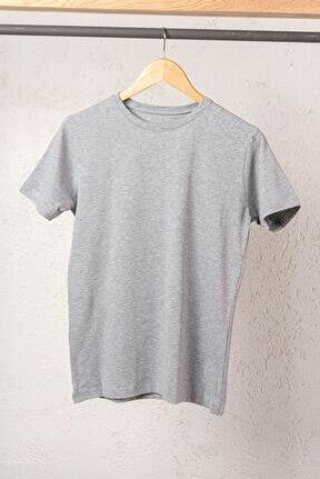 Erkek Gri Modal Pamuk Sıfır Yaka Kısa Kol T-shirt Fanila Atlet