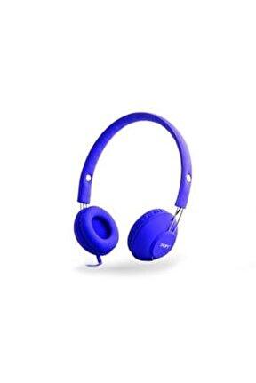 Sn-933 Mobil Telefon Uyumlu Rubber Mavi Mikrofonlu Kulaklık