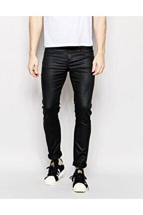 Parlak Siyah Kaplama Erkek Kot Pantolon Jeans