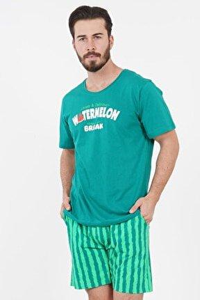 Pamuklu Erkek Kısa Kol Şortlu Pijama Takım