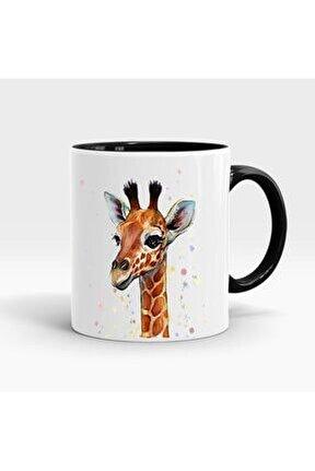 Sevimli Zürafa Baskılı Içi Ve Kulpu Renkli Porselen Kupa