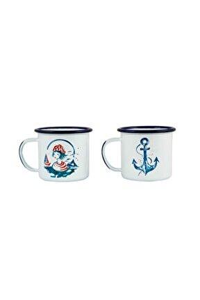 Denizci Kız-çapa 2'li Emaye Kupa Seti