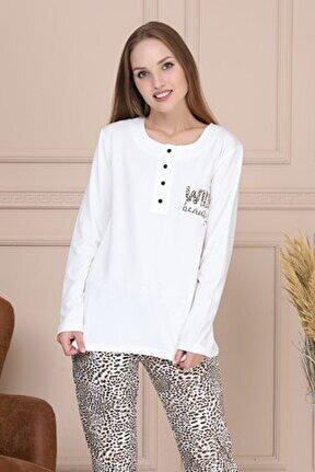 Leopar Desenli Kadın Pijama Takımı