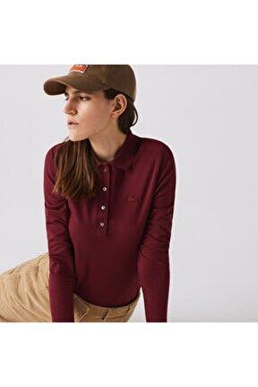 Kadın Slim Fit Uzun Kollu Bordo Polo