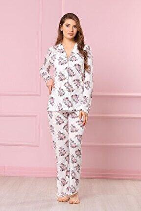 Çiçek Desenli Kadın Pijama Takımı