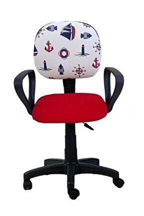 Çocuk Odası Ders Çalışma Ofis Koltuğu Gemici Dümen Desenli Kırmızı