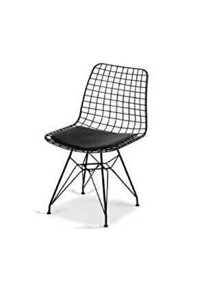Dekor Tel Sandalye Siyah