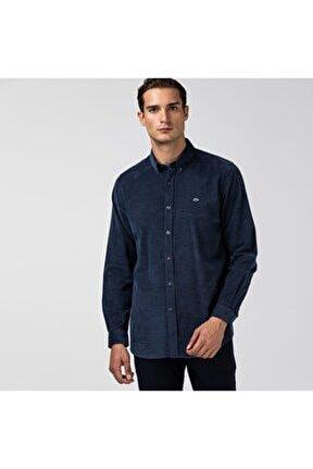 Erkek Regular Fit Ekose Desenli Mavi Gömlek