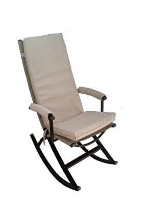 Sallanır Sandalye Koltuk Berjer Minderli Tv Koltuğu Sallanabilir Berjer Krem
