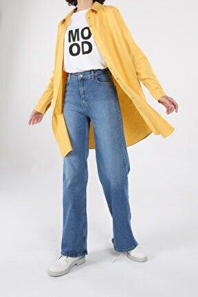 Sarı Gizli Patlı Pamuklu Gömlek Tunik