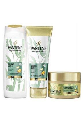 Uzun ve Güçlü Bambu ve Biotinli Şampuan 400 ml Saç Kremi 275 ml Maske 160 ml Saç Bakım Seti