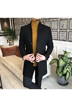 Italyan Stil Hakim Yaka Yün Kaşe Kaban Siyah T4299