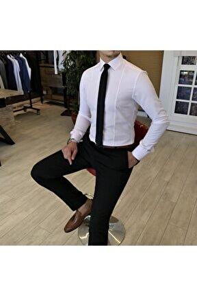 Italyan Stil Slim Fit Armürlü Kravat Yaka Gömlek Pembe T4770