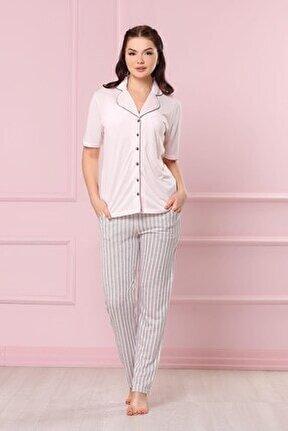 Pudra Uzun Altlı Kadın Pijama Takımı