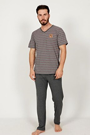 Erkek V Yaka Kısa Kol Pijama Takım