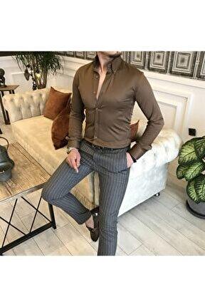 Italyan Stil Slim Fit Dik Yaka Saten Erkek Gömlek Açık Kahve T5103