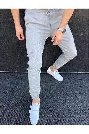Düz Jogger Kumaş Stil Paça Lastikli Pantolon