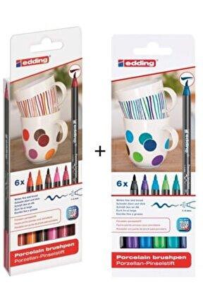 Sıcak + Soğuk Renkler Porselen Boyama Kalem Seti