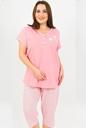Pamuklu Büyük Beden Kısa Kol Kaprili Pijama Takım