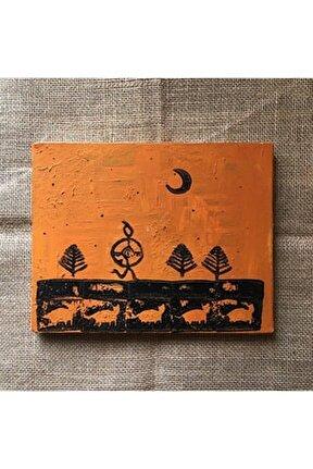 Şaman, 20x25, Kanvas Tablo Üzerine Akrilik,  Linol Baskı